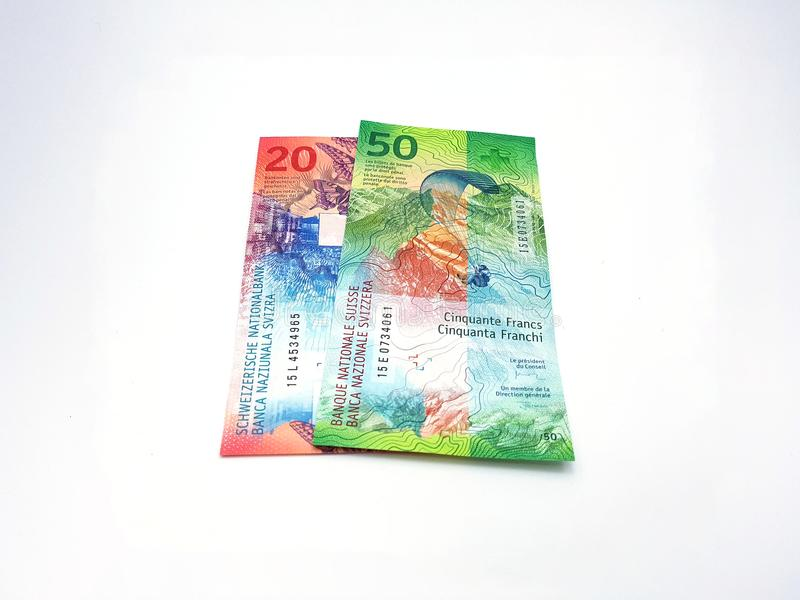 Swiss franc bank notes vertical royalty free stock photo
