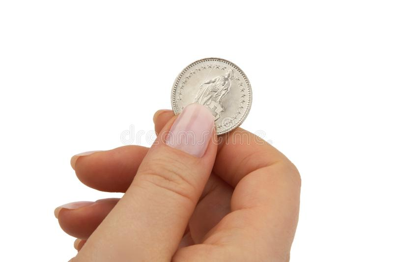 Swiss franc coin stock photos