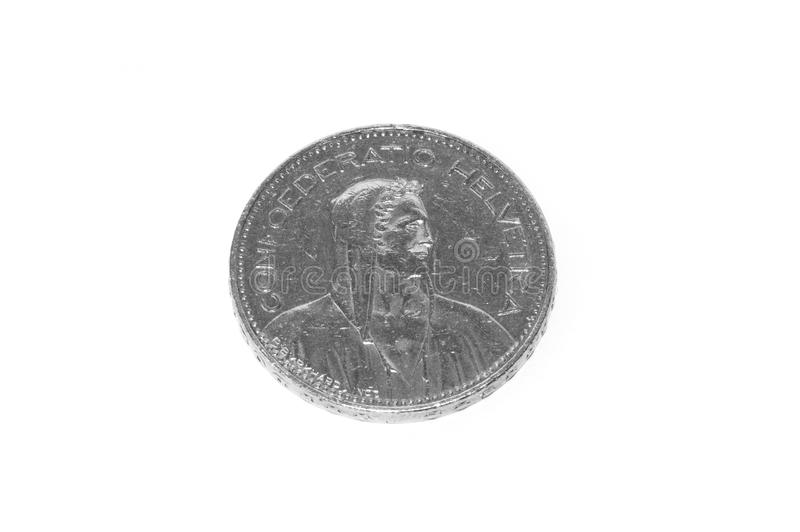 5 Swiss Francs coin isolated on white stock photography