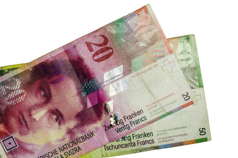Swiss francs isolated. Swiss francs on white background royalty free stock image