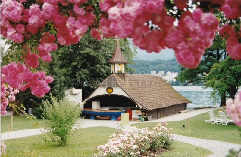 Gazebo by Lake Lucerne royalty free stock photo