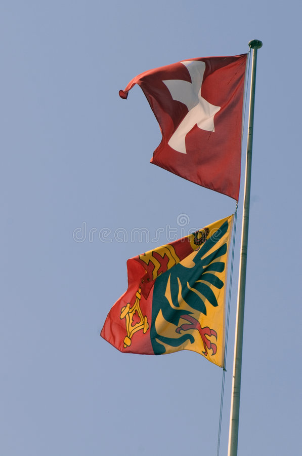 Swiss and Geneva Flags (0380) royalty free stock photo