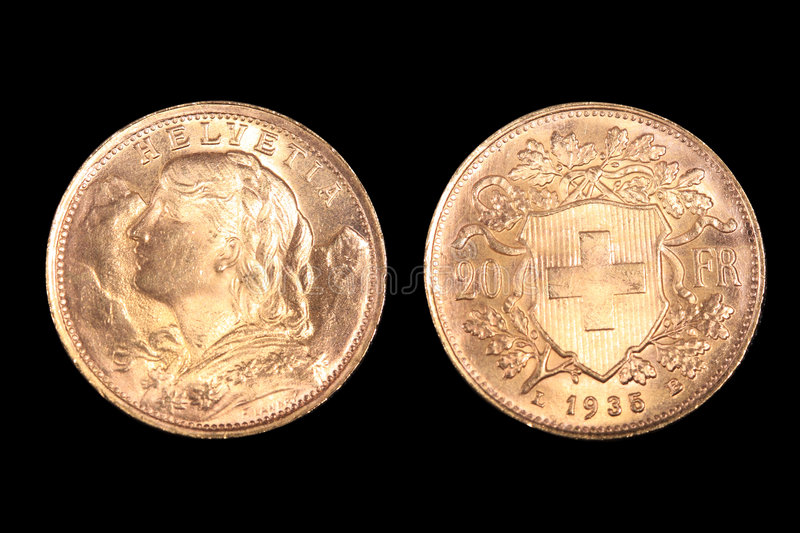 Swiss gold coin royalty free stock photos