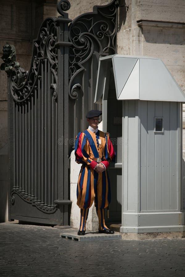 Swiss Guard in a Vatican Hallway. stock photos