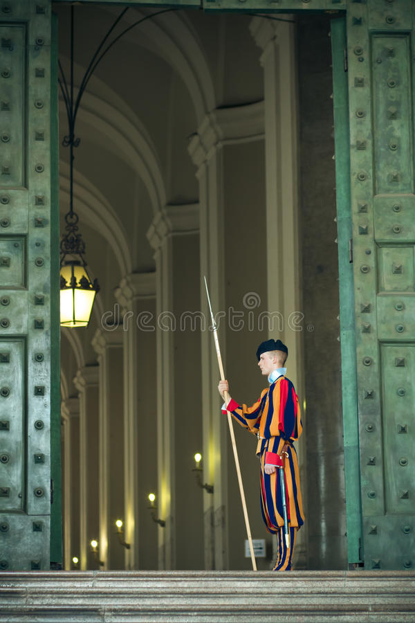 Swiss Guard in a Vatican Hallway. royalty free stock image