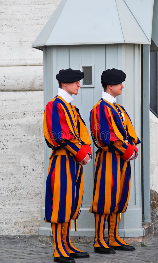 Swiss guards at the vatican royalty free stock image