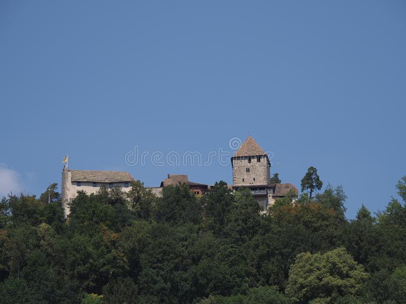 Swiss Hohenklingen castle in forest landscapes at hill above european Stein am Rhein town in Switzerland. With clear blue sky in 2018 warm sunny summer day on stock photo