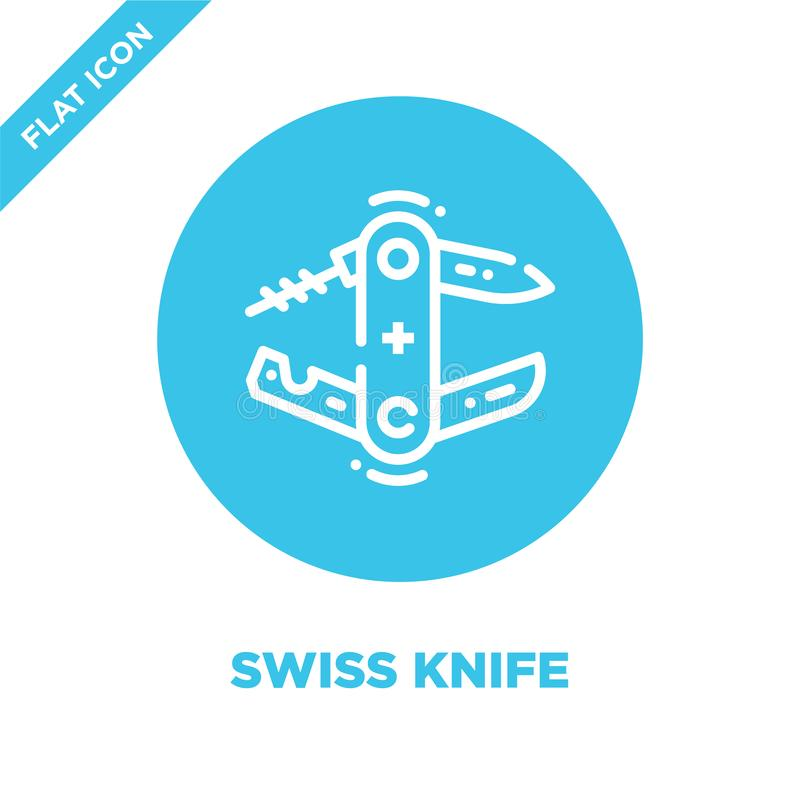 swiss knife icon vector from camping collection. Thin line swiss knife outline icon vector  illustration. Linear symbol for use on stock illustration