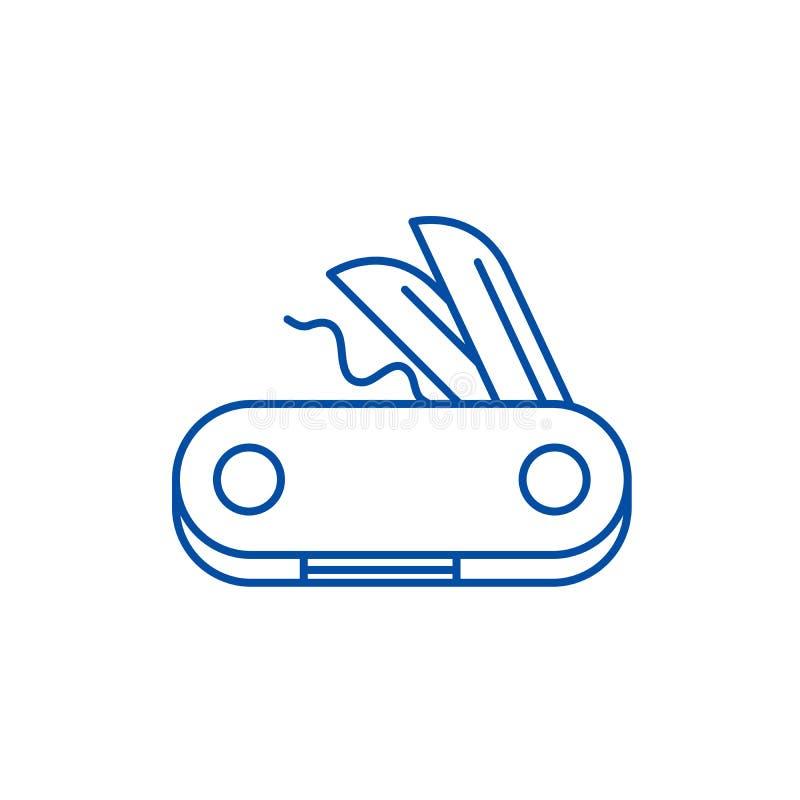 Swiss knife line icon concept. Swiss knife flat  vector symbol, sign, outline illustration. royalty free illustration