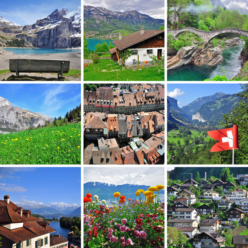 Download Swiss landscape - collage stock image. Image of scenic - 32174139