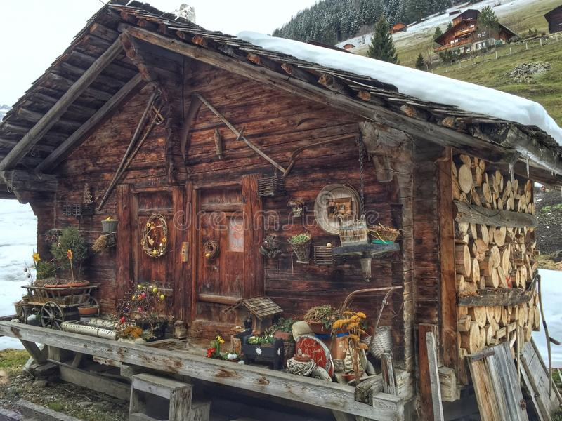Swiss log cabin royalty free stock photo