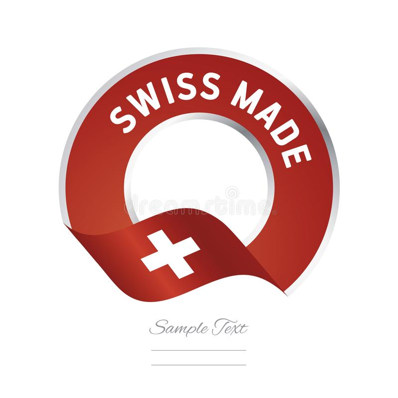 Swiss made flag red color label button banner stock illustration