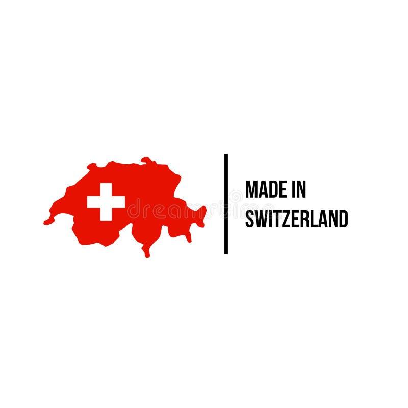 Swiss made icon Switzerland flag map quality seal royalty free illustration