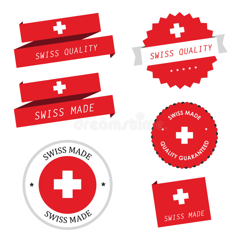 Swiss made labels, badges and stickers stock illustration