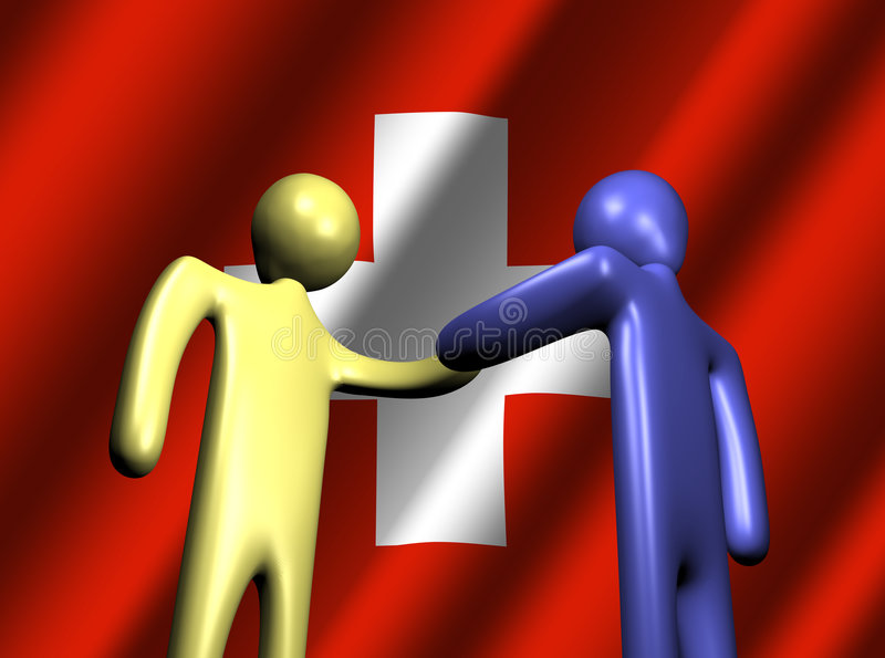 Swiss meeting royalty free illustration