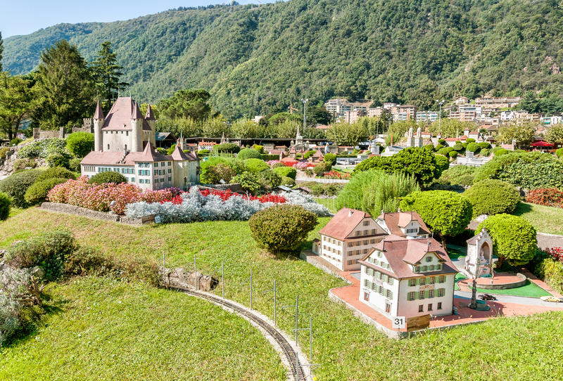 Swiss miniature park in Melide. Swiss miniature park in Melide, is an open-air museum with the most important Swiss buildings and means of transportation stock images