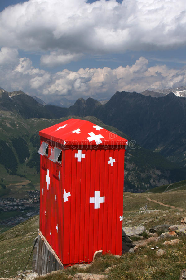 Swiss mountain cabin royalty free stock image