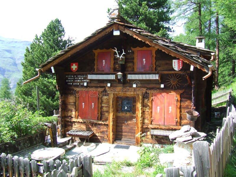 Swiss Mountain hut in Switzerland stock photos
