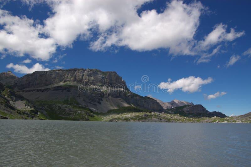 Swiss mountain lake landscape royalty free stock photo