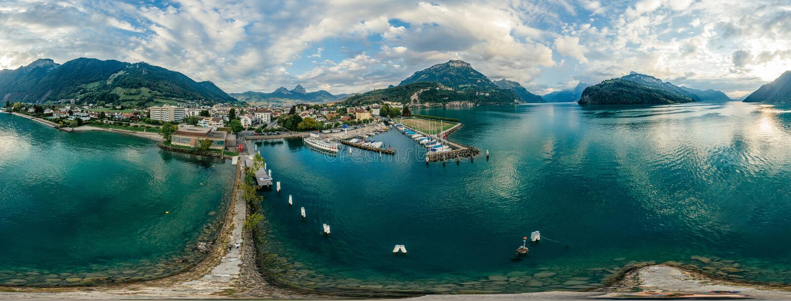 Swiss Mountain Lake nature Drone drone Air 360 vr virtual reality drone panorama royalty free stock photo