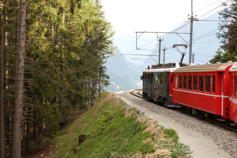 Swiss mountain train Bernina Express stock image