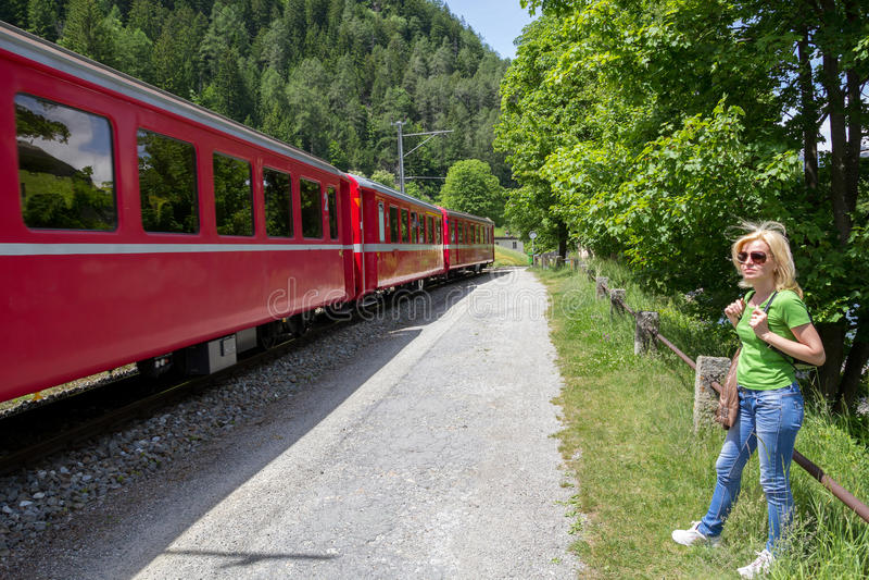 Swiss mountain Train Bernina Express stock images