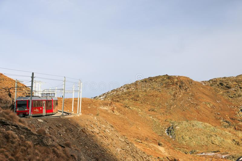 Swiss mountain train Bernina Express crossed through the high royalty free stock images