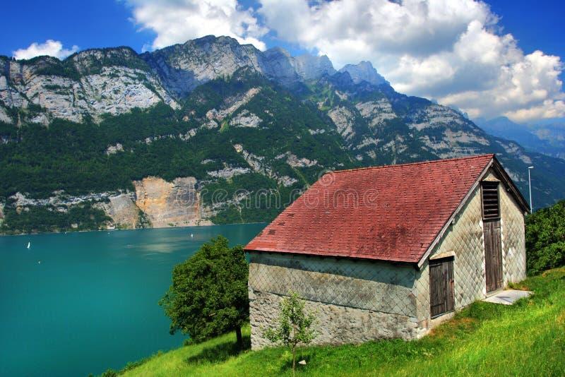 SWISS MOUNTAINS LAKE WALENSEE, SWITZERLAND royalty free stock images