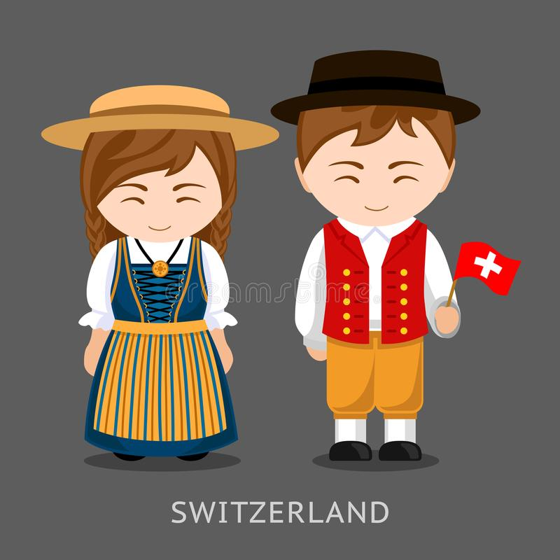 Swiss in national dress with a flag. vector illustration