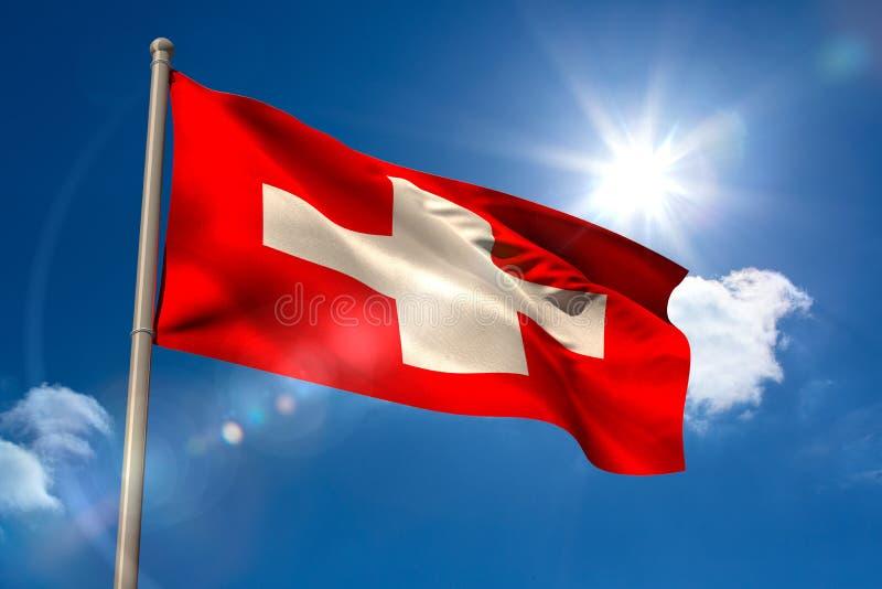 Swiss national flag on flagpole. Swiss national flag on blue sky background royalty free illustration