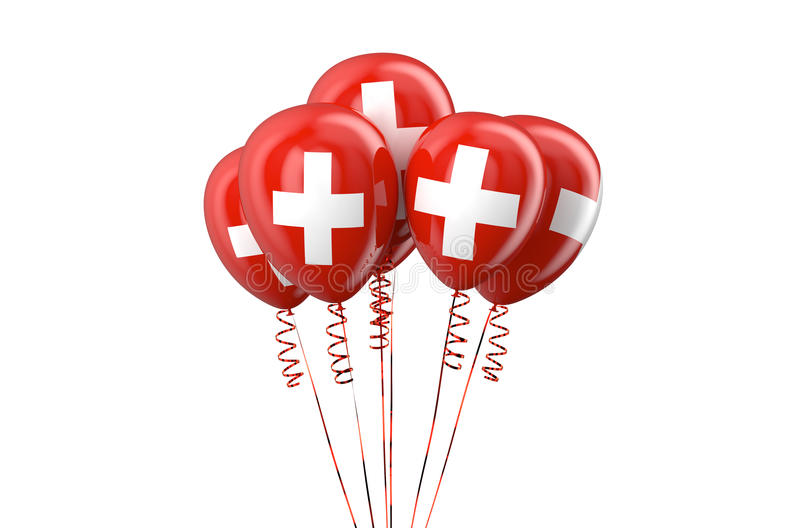 Swiss patriotic balloons, holyday concept. Isolated on white background vector illustration