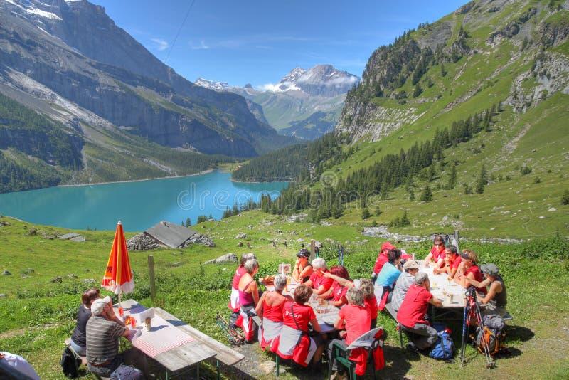 Swiss picnic - Bernese Oberland, Switzerland stock photography