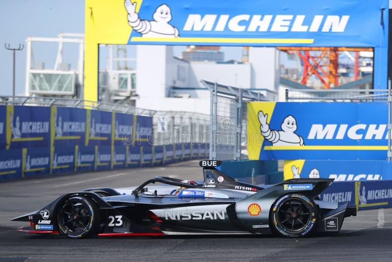 Swiss professional racing driver Sebastien Buemi of  Nissan e.dams Team driving his Formula E car 23 during 2019 NYC E-prix. NEW YORK - JULY 14, 2019: Swiss stock photo