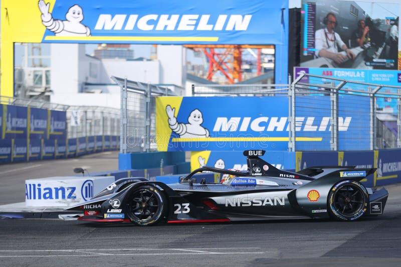 Swiss professional racing driver Sebastien Buemi of  Nissan e.dams Team driving his Formula E car 23 during 2019 NYC E-prix. NEW YORK - JULY 14, 2019: Swiss stock photos