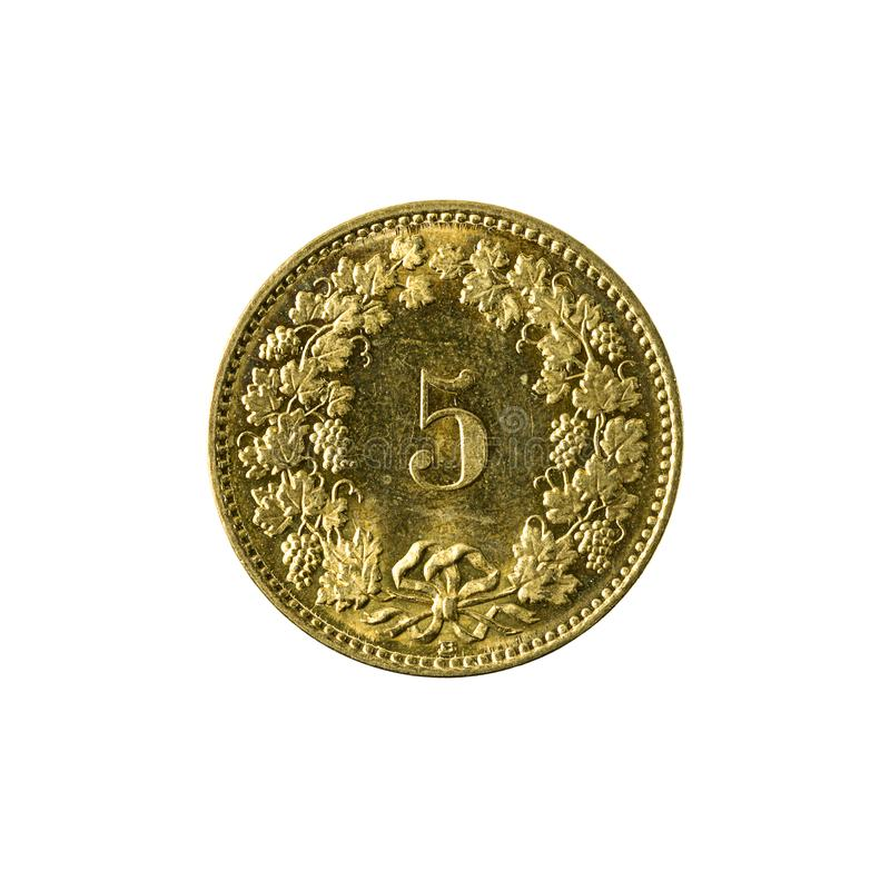 5 swiss rappen coin 2008 obverse isolated on white background. Specimen royalty free stock photography
