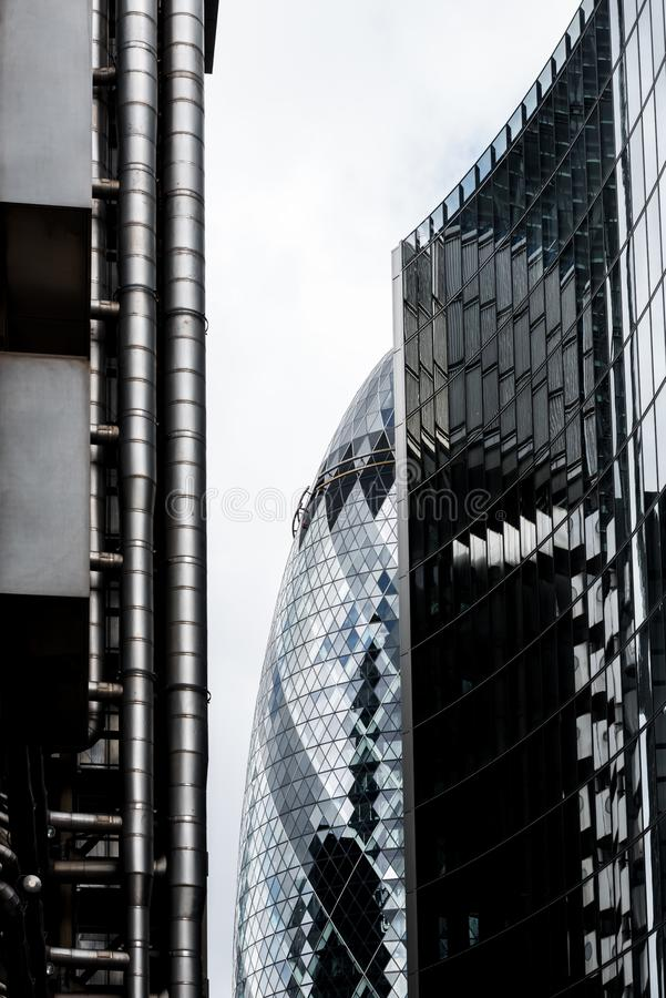 Swiss Re Gherkin Building in London`s Financial District royalty free stock image