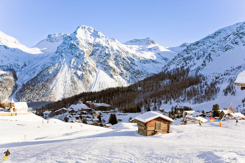 Swiss resort in Alps stock photography