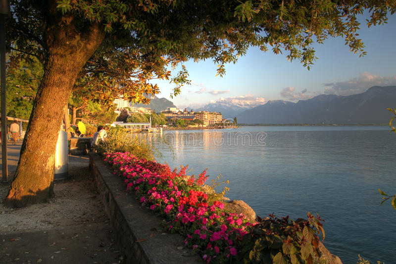 Download Swiss riviera, Montreux stock image. Image of golden - 14825343