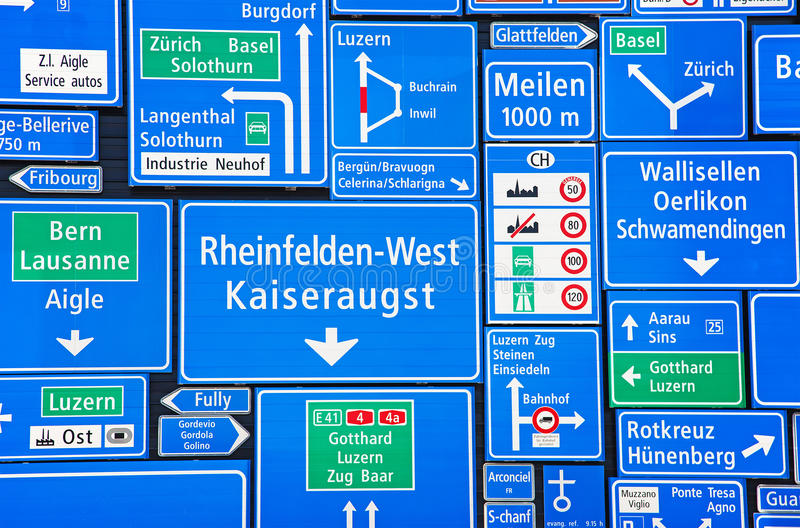Swiss road signs royalty free stock photography