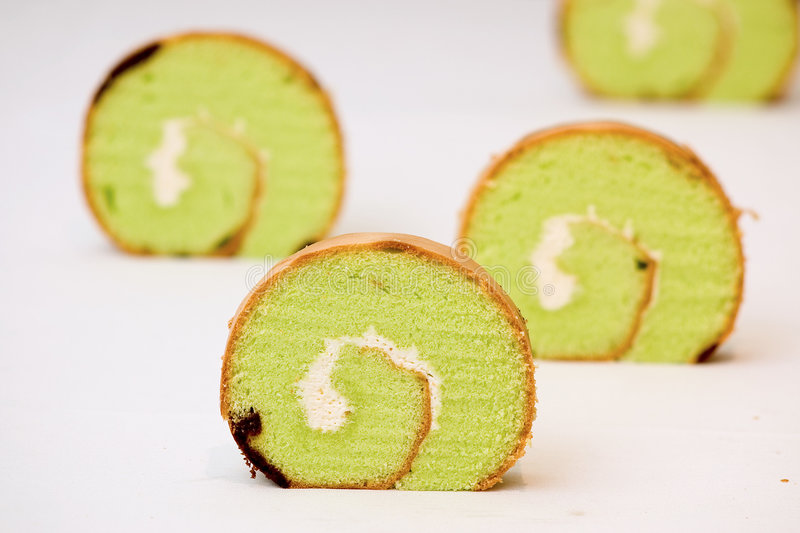 Swiss Roll Cake. With icing royalty free stock photos