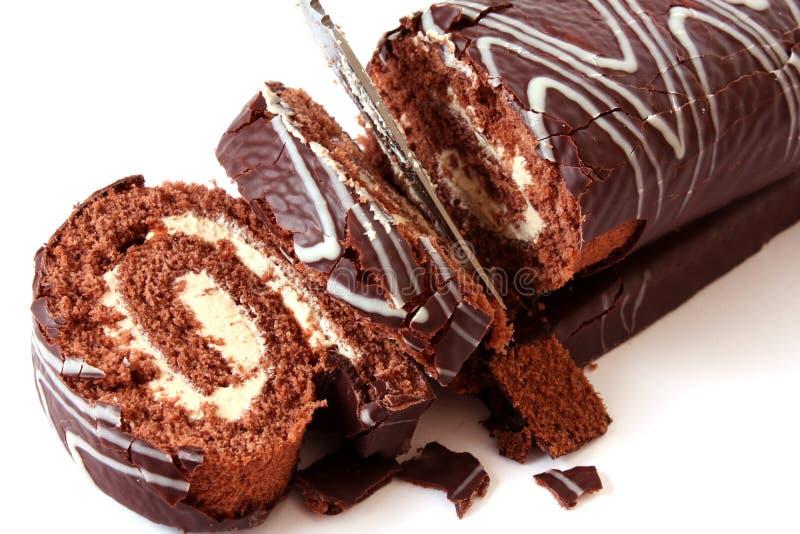 Swiss roll del cioccolato fotografia stock libera da diritti
