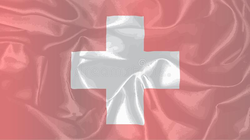 Swiss Silk Flag Background. The flag of Switzerland in white and red with silk effect stock illustration