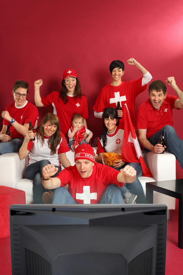 Download Swiss sports fans stock image. Image of male, caucasian - 24421265