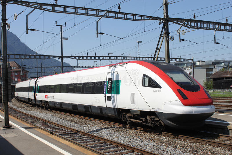 Swiss tiltilng train in Arth Goldau station stock photography