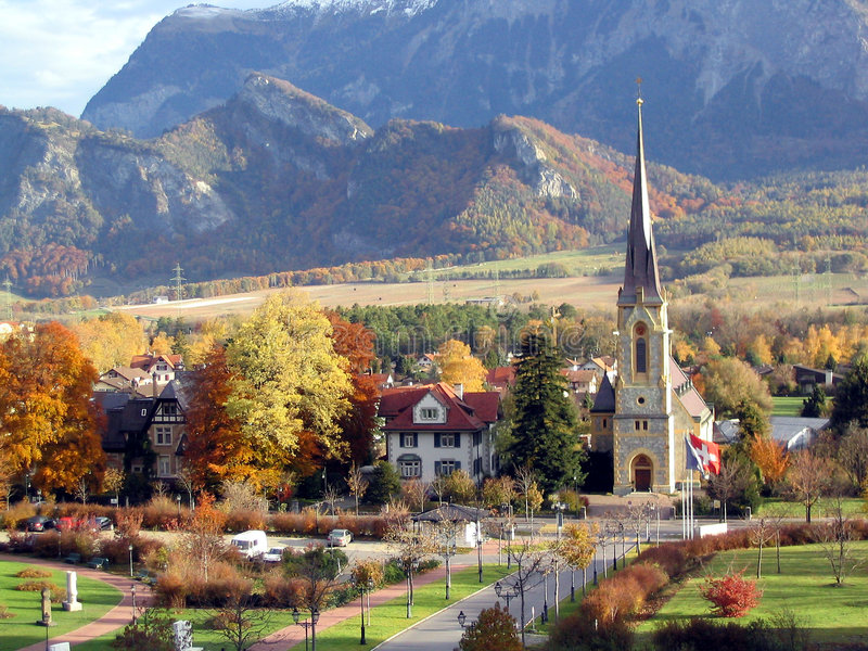 Download Swiss Town stock image. Image of mountains, travel, church - 111937