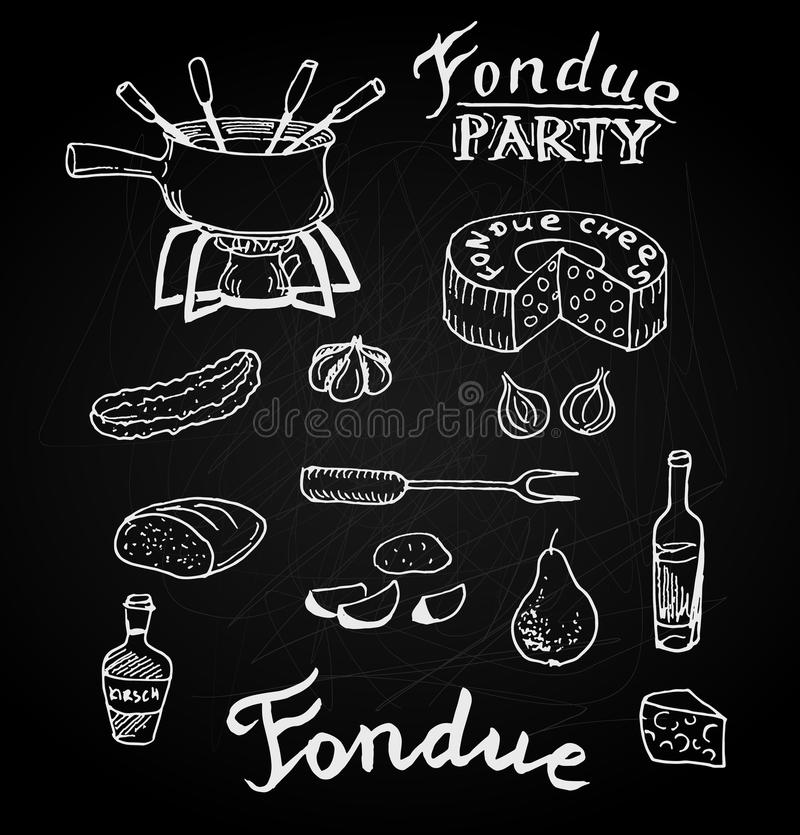 Swiss traditional fondue ingredients set of cheese, wine bottle, pot, cucumber, pear, bread. Hand drawn sketch in chalk board styl royalty free stock image