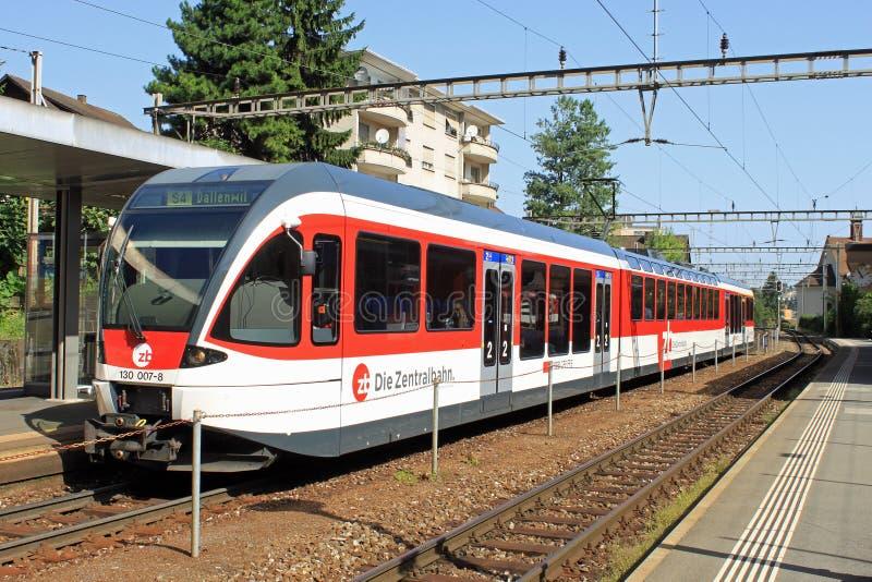 Swiss train at Hergiswil stock image