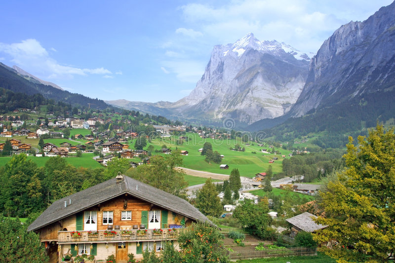 Swiss valley view. Swiss Alpine valley in canton Grindelwald royalty free stock photography