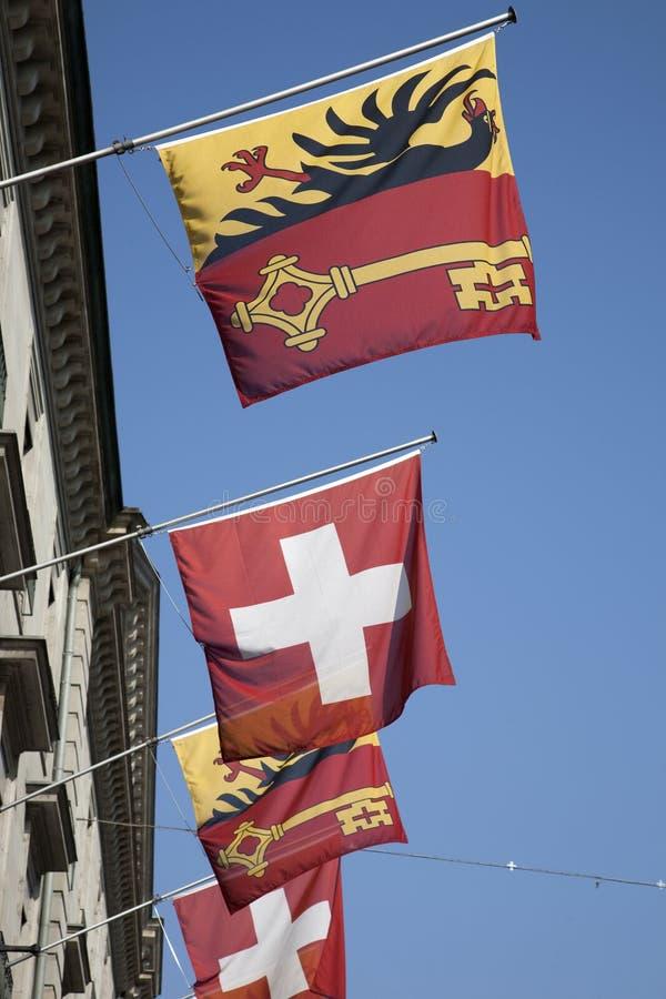 Download Swiss And Vaud Flags, Geneva Stock Image - Image: 28702701