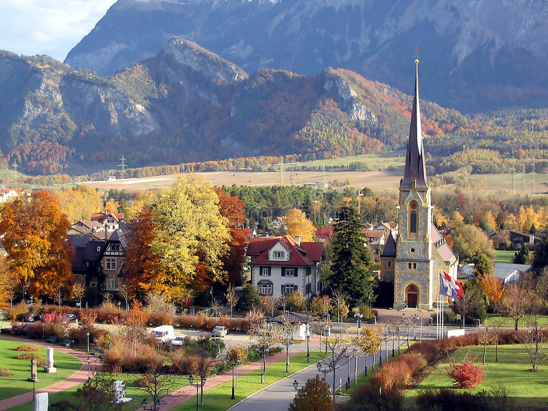 Download Swiss Village stock image. Image of church, steeple, beautiful - 110967